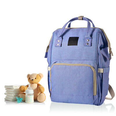 Large Capacity Multi-Function Waterproof Stylish Backpack Diaper Bag Blue BB024