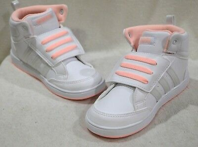 9753a2bec73 ADIDAS HOOPS CMF Midtop White Silver Peach Girl s Toddler Sneaker-Sz ...