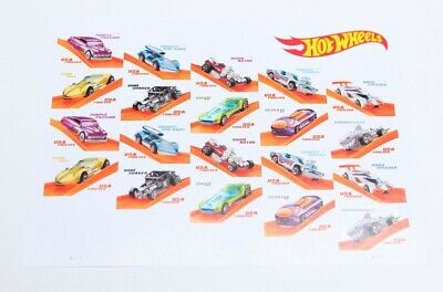 US Hot Wheels Stamps, 50th Anniversary Full Pane (20 Forever Stamps), MNH 2018