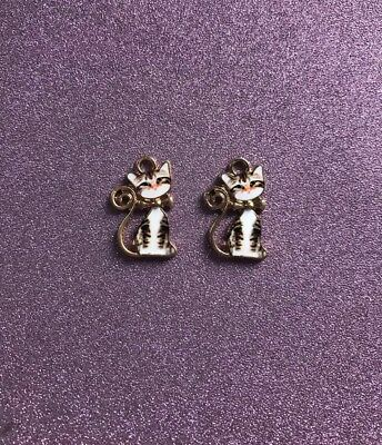 2  Gold Plated Black & White Enamel Cute Cat Charms