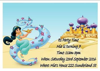 Set Of 12 Personalised Disney Princess Jasmine Birthday Invitations