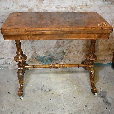Antique Victorian Inlaid Walnut Console Table Writing Desk Extendable Card Table