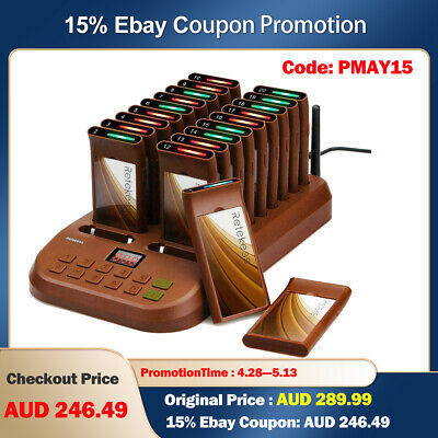 Retekess T113 Wireless Restaurant Paging Queuing System 16xCoaster Pager 99CH AU