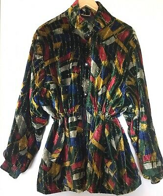 VINTAGE 90's Funky VELOUR VELVET ANORAK Jacket GOLD ACCENTS Free Size HIPSTER