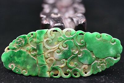 Antique Chinese Hand carved aristocratic wearing Jadeite jade pendant 福寿如意 p134