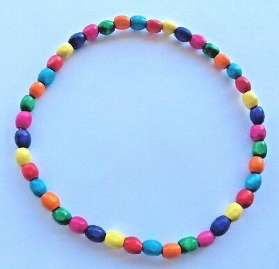 Rainbow Wooden Beaded Stretchy Ankle Bracelet Anklet Multicoloured Chakra Sa05
