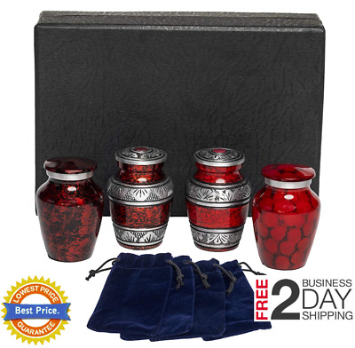 Classic Red Small 4 Mini Cremation Keepsake Urns For Human Ashes Classy Elegant