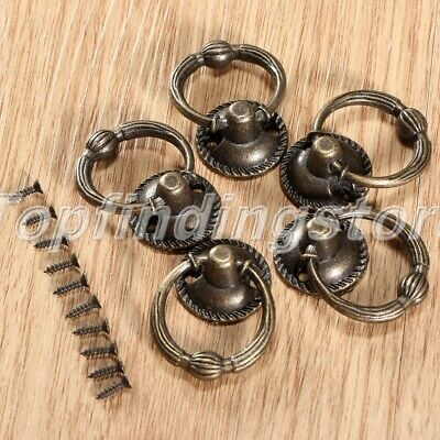UK STOCK Antique Brass Cabinet Knobs Cupboard Drawer Box Pull Handle Ring 1/5pcs