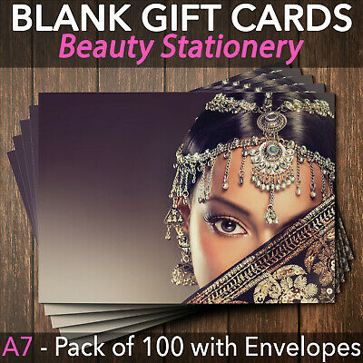 Blank Gift Voucher Card Massage Beauty Indian Holistic Divali x100 + Envelopes