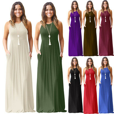 Ladies Womens Summer Pockets Muscle Back Sleeveless Vest Long Maxi Party Dresses