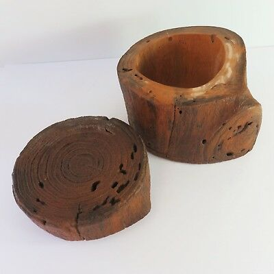 Vintage Hand Carved Wooden Trinket Jewellery/Storage Box Container Log