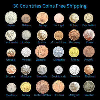 Original Set 30 Coins collection From 30 Different Countries 100% Real Genuine