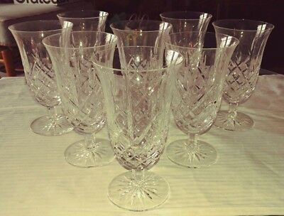 SET of EIGHT (8) ARAGLIN WATERFORD FOOTED ICE TEA or PARFAIT CRYSTAL GLASSES EXC