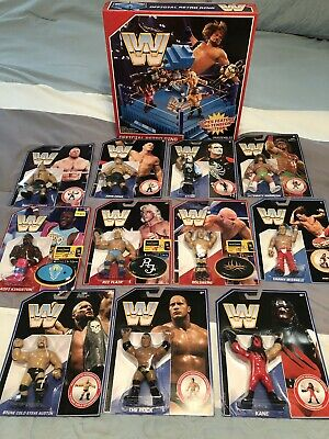 Wwe Wrestling Figures Retro Mattel Lot Of 11 + Ring! Stone Cold Sting Ric Flair