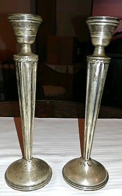 """#3246 Redlich and Co Sterling Silver Candlestick Pair 10 3//4/"""" Tall #2503"""