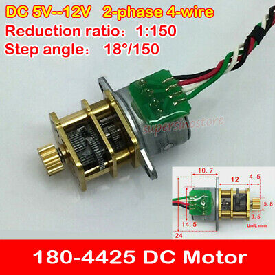Micro 15 Stepper Motor DC 5V 12V 2-phase 4-wire Metal Gearbox Gear Reducer 1:100