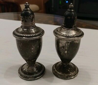 Vintage Duchin Creation Weighted Sterling Silver Salt&Pepper Shakers Glass Lined