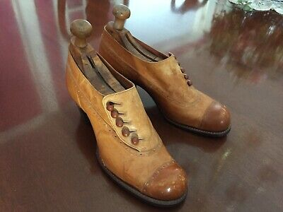 Antique Victorian/Early 1900's Womans Leather Button Shoes with Wooden Forms