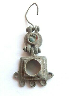 Rare! ANCIENT Celtic Billon EARRING with Green Gemstone - La Tene Culture 300 BC