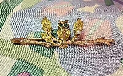 Exquisite Antique Victorian/Edwardian 9ct Gold & Green Stone Owl Bar Brooch