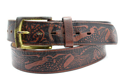 Vintage Handmade Mens Real Leather Belt Brown Size 40
