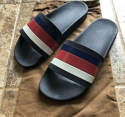 5cd3a4f99cac 100% AUTHENTIC MENS Gucci Slides Sandals Blue Red White Size 7 ...