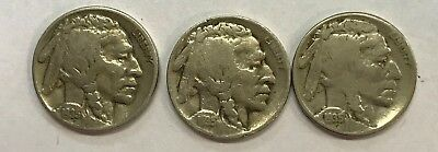 1935 - P & D & S  Buffalo Nickels  Great Circulated Condition     #1233