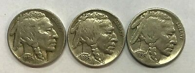1936 - P & D & S  Buffalo Nickels  Great Circulated Condition     #1230
