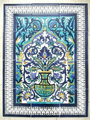 "Ceramic tile art Mosaic wall mural Arabesque Antique floral BACKSPLASH 18"" x 24"""