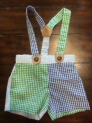 4910b54f5a16 MUDPIE CHAMBRAY SUSPENDERS Short Set 0-6 Months Baby Boy Clothes ...