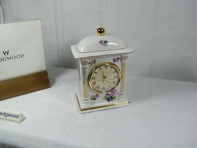 Wedgwood Fine Bone China  Large Mantle Clock, Rose Pattern with Fan Square sides
