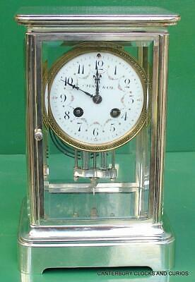 Tiffany & Coart-Deco French Japy Freres 8 Day Four Glass Crystal Regulator Clock