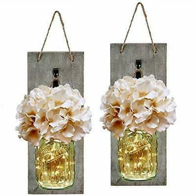 HABOM Mason Jar Sconce Rustic Home Wall Decor with LED Fairy Lights Handcrafte