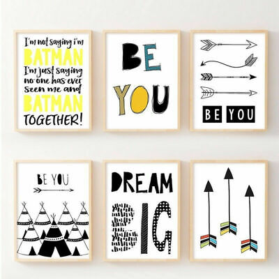 Dream Big Inspirational Quote Canvas Poster Print Wall Art Baby Room Decoration