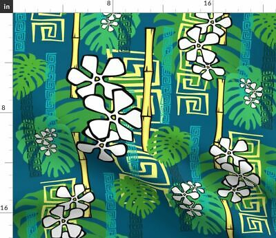 Tropical Tiki Hawaiian Floral Plants Leaves Fabric Printed by Spoonflower BTY