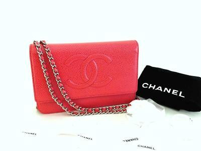 2569aa2d74d8 Authentic Chanel Red Wallet on Chain WOC Messenger Crossbody Clutch Bag