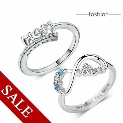Fashoin Ring Silver MOM Crtystal Heart Band Mother's Day Gift Wedding Jewelry