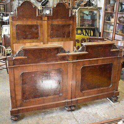 Antique victorian double push together single beds carved wood