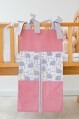 Pink/Grey/Hedgehogs Nappy Stacker/Toy Storage for a girl. Ideal baby shower gift