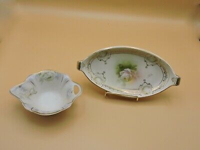 2 Victorian  Porcelain China  Dish/ Bowl Hand Painted w/ Gilding Rose