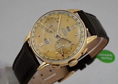 Rare Vintage Chronograph Angelus Chronodato 18K Gold Triple-Date Tropical Dial