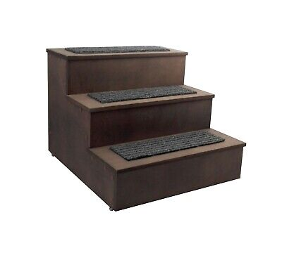 Deluxe Wood Cat Stairs Dog Step Ladder Pet Stairs 3 Steps Stairs Access Bed
