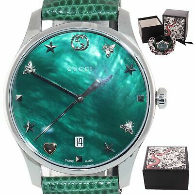 5a83a7a5162 MINT Gucci G-Timeless Stainless Steel 36mm Star Butterfly Green Date 126.4  Watch