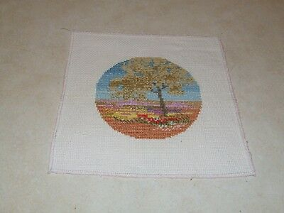 Completed Cross Stitch -  Tree and Flowers