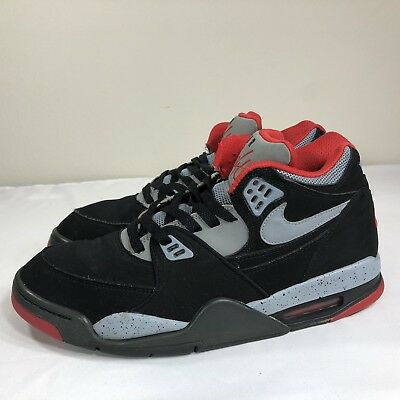 official photos fe607 eb343 Nike Air Flight 89 Black Grey Red Basketball Shoes Men s 10 Retro Bred  Cement