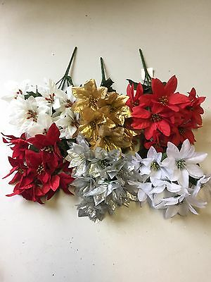 Artificial Christmas Flowers.6 X Artificial Poinsettia Bunches Fake Christmas Flowers Wreath Red Silver Gold