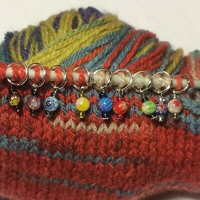 Knitting Stitch Marker, Handmade To Rings or Crochet Clasps, Millefiori Beads