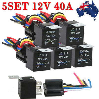 AU 5PCS 12V 40 Amp 5-Pin SPDT Automotive Relay with Wires ... Dc Pin Relay Wiring on