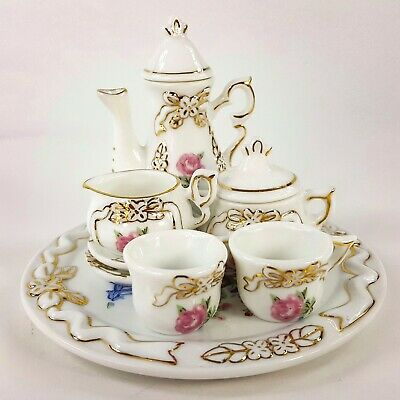 Porcelain Miniature 10 pc Tea Set Pink Roses w Gold Trim Floral VIntage