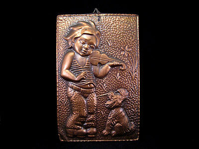 Amazing Copper Plaque On Cardboard Plate From Ussr, *boy & Dog*!!!